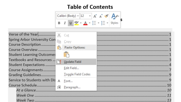 Modify the Table of Contents